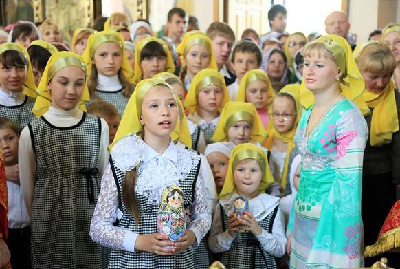 Воспитанники воскресной школы в храме
